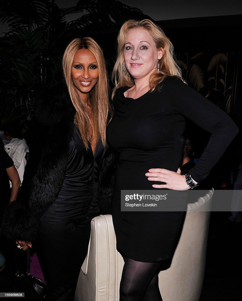 Model Iman and Amy Sacco attend the after party for a screening Of 'Hotel Noir' hosted by The Cinema Society and Gato Negro Films at No. 8 on November 9, 2012 in New York City.