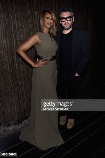 Model Iman and designer Brian Maxwell attends Harper's BAZAAR 150th Anniversary Event presented with Tiffany Co at The Rainbow Room on April 19 2017...