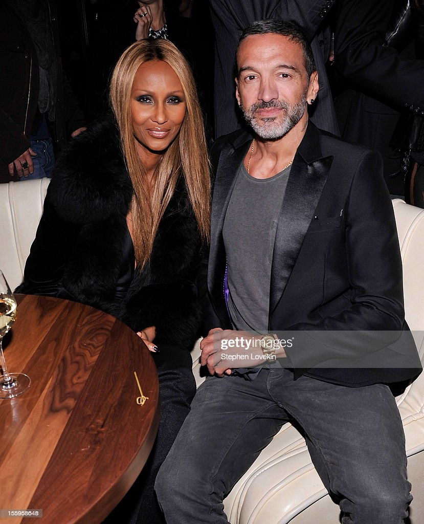 Model <a gi-track='captionPersonalityLinkClicked' href=/galleries/search?phrase=Iman+-+Fashion+Model&family=editorial&specificpeople=132463 ng-click='$event.stopPropagation()'>Iman</a> and Eric Sartori attend the after party for a screening Of 'Hotel Noir' hosted by The Cinema Society and Gato Negro Films at No. 8 on November 9, 2012 in New York City.