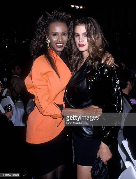 Model Iman and model Cindy Crawford attend 'The Love Ball' to Benefit the Design Industries Foundation for AIDS on May 10 1989 at Roseland in New...