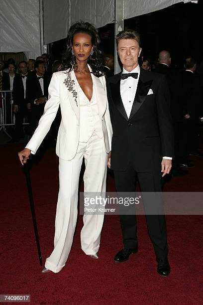 Model Iman and musician David Bowie attend the Metropolitan Museum of Art Costume Institute Benefit Gala 'Poiret King Of Fashion' at the Metropolitan...