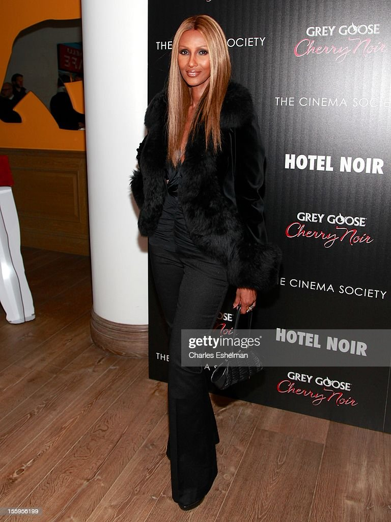Model Iman attends Gato Negro Films & The Cinema Society screening of 'Hotel Noir' at the Crosby Street Hotel on November 9, 2012 in New York City.