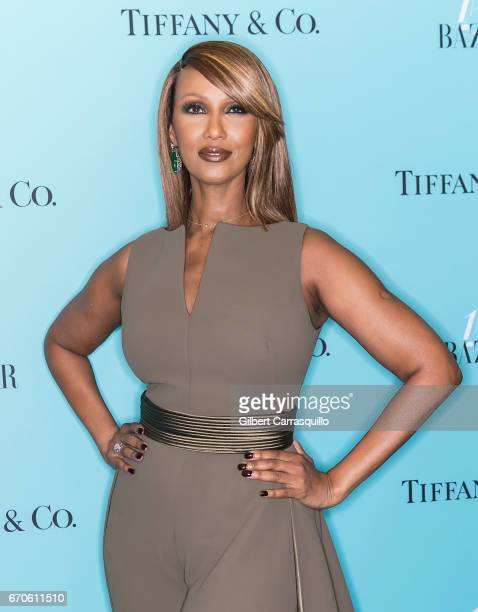 Model Iman attends Harper's BAZAAR 150th Anniversary Event presented with Tiffany Co at The Rainbow Room on April 19 2017 in New York City