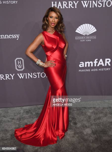 Model Iman attends the 19th annual amfAR's New York Gala to kick off NY Fashion Week at Cipriani Wall Street on February 8 2017 in New York City /...
