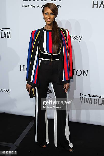 Model Iman attends the 2015 amfAR New York Gala at Cipriani Wall Street on February 11 2015 in New York City