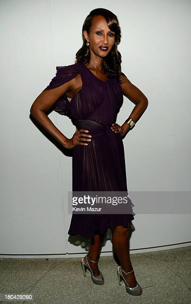 Model Iman attends the Estee Lauder 'Modern Muse' Fragrance Launch Party at the Guggenheim Museum on September 12 2013 in New York City