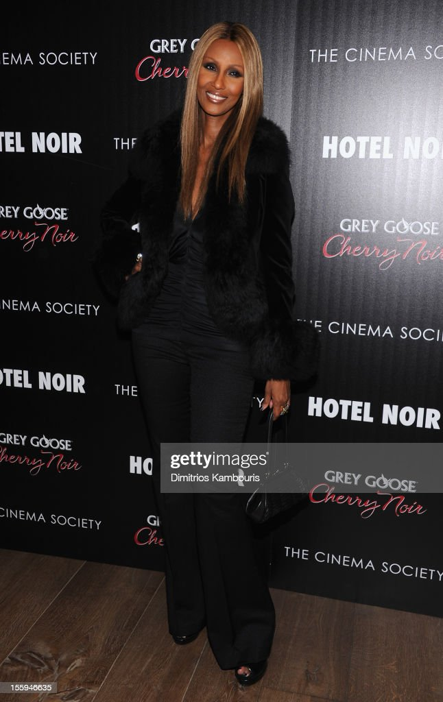 Model Iman attends the Gato Negro Films And The Cinema Society Host A Screening Of 'Hotel Noir' at Crosby Street Hotel on November 9, 2012 in New York City.