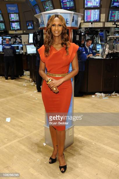 Model Iman celebrates ESSENCE magazine's 40th anniversary at the New York Stock Exchange on August 5 2010 in New York City