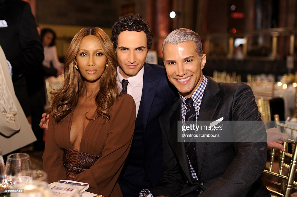 Model Iman fashion designer Zac Posen and stylist Jay Manuel attend Variety Power Of Women New York presented by FYI at Cipriani 42nd Street on April...