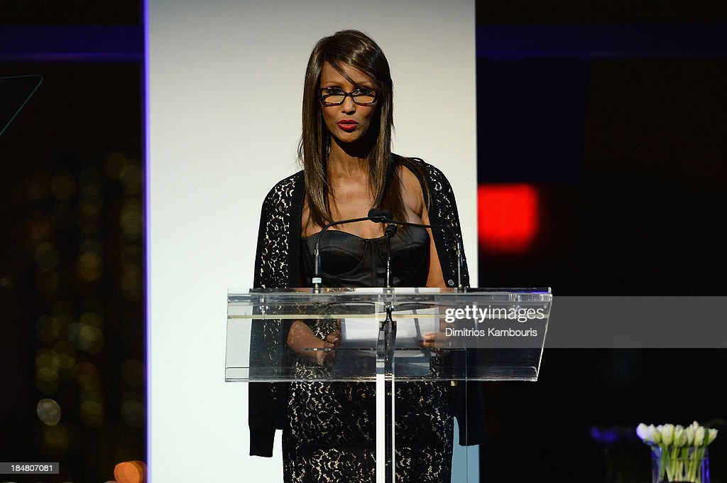 Model <a gi-track='captionPersonalityLinkClicked' href=/galleries/search?phrase=Iman+-+Fashion+Model&family=editorial&specificpeople=132463 ng-click='$event.stopPropagation()'>Iman</a> speaks on stage at God's Love We Deliver 2013 Golden Heart Awards Celebration at Spring Studios on October 16, 2013 in New York City.