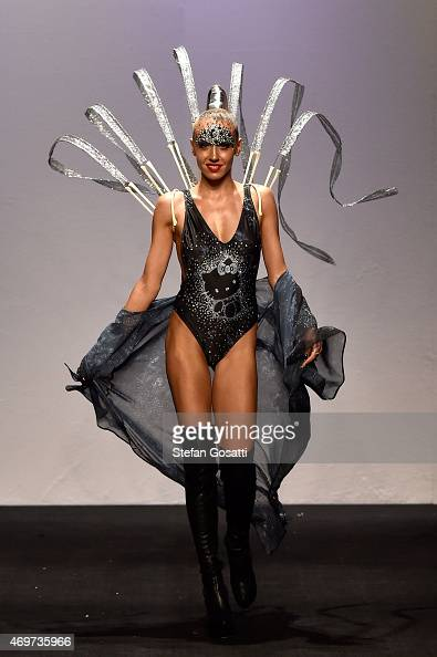 Model Imogen Anthony walks the runway during the Bondi Bather show at MercedesBenz Fashion Week Australia 2015 at Carriageworks on April 15 2015 in...