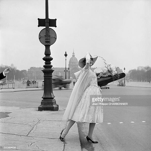 Model in front of the Invalides 1960 in Paris France