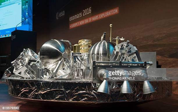 3 of the landing unit Schiaparelli of the EuropeanRussian ExoMars 2016 mission is seen at the ESA space operation center in Darmstadt Germany on...