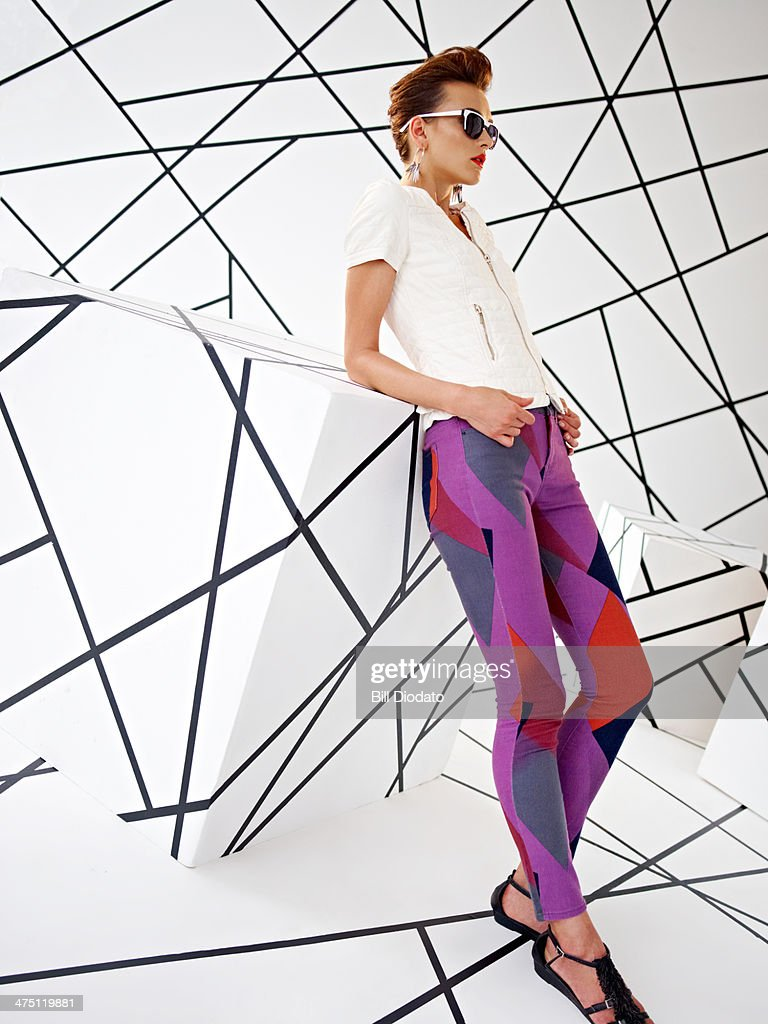 Model in studio with colorful pants : Stock Photo