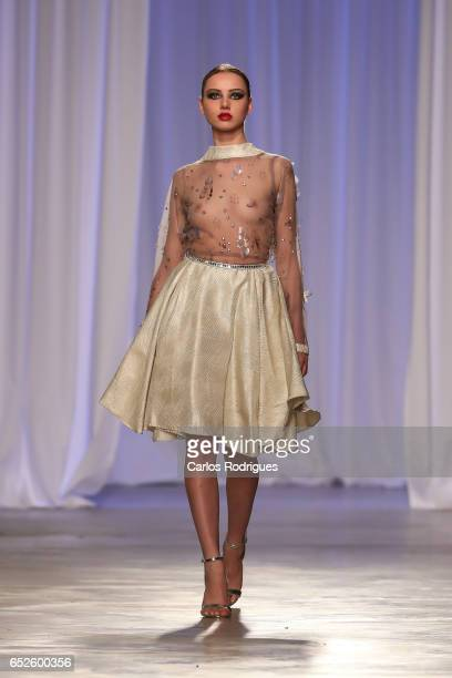 Model in the catwalk during Nadir Tati Runway show in the Lisboa Fashion Week ModaLisboa day 3 at on March 12 2017 in Lisbon Portugal