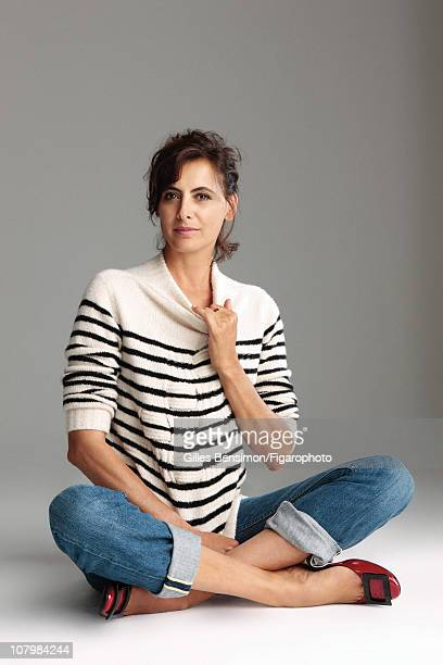 Model Ines de la Fressange is photographed for Madame Figaro on September 7 2010 in Paris France Published image Figaro ID 098066008 Sweater by...
