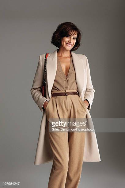 Model Ines de la Fressange is photographed for Madame Figaro on September 7 2010 in Paris France Published image Figaro ID 098066005 Coat and pants...