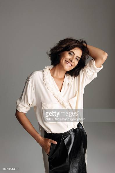 Model Ines de la Fressange is photographed for Madame Figaro on September 7 2010 in Paris France Published image Figaro ID 098066004 Shirt and skirt...