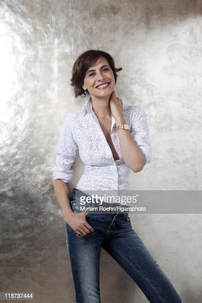 Model Ines de la Fressange is photographed for Madame Figaro on May 6 2011 in Paris France Figaro ID 100864012 Shirt by Azzedine Alaia jeans by...