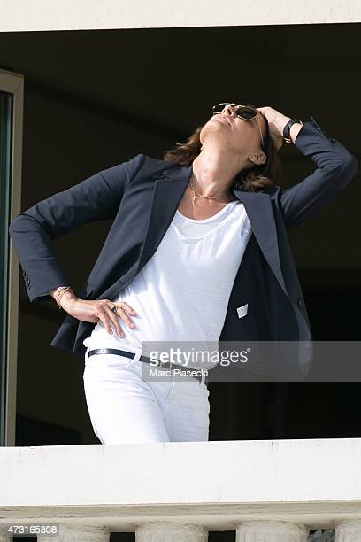 Model Ines de la Fressange is spotted at the Grand Hyatt Cannes Hotel Martinez during the 68th annual Cannes Film Festival on May 13 2015 in Cannes...