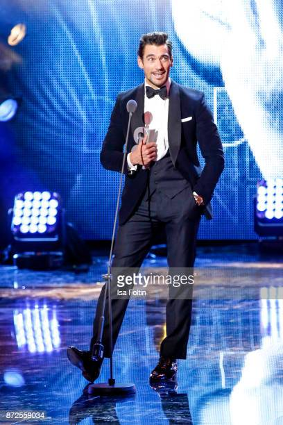 Model influencer and award winner David Gandy live on stage at the GQ Men of the year Award 2017 show at Komische Oper on November 9 2017 in Berlin...