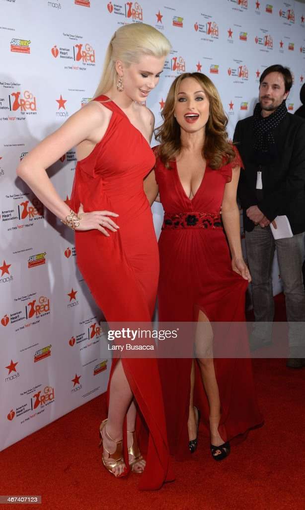 Model Ireland Baldwin (L) and Chef Giada De Laurentiis attend Go Red For Women The Heart Truth Red Dress Collection 2014 Show Made Possible By Macy's And SUBWAY Restaurants at The Theatre at Lincoln Center on February 6, 2014 in New York City.