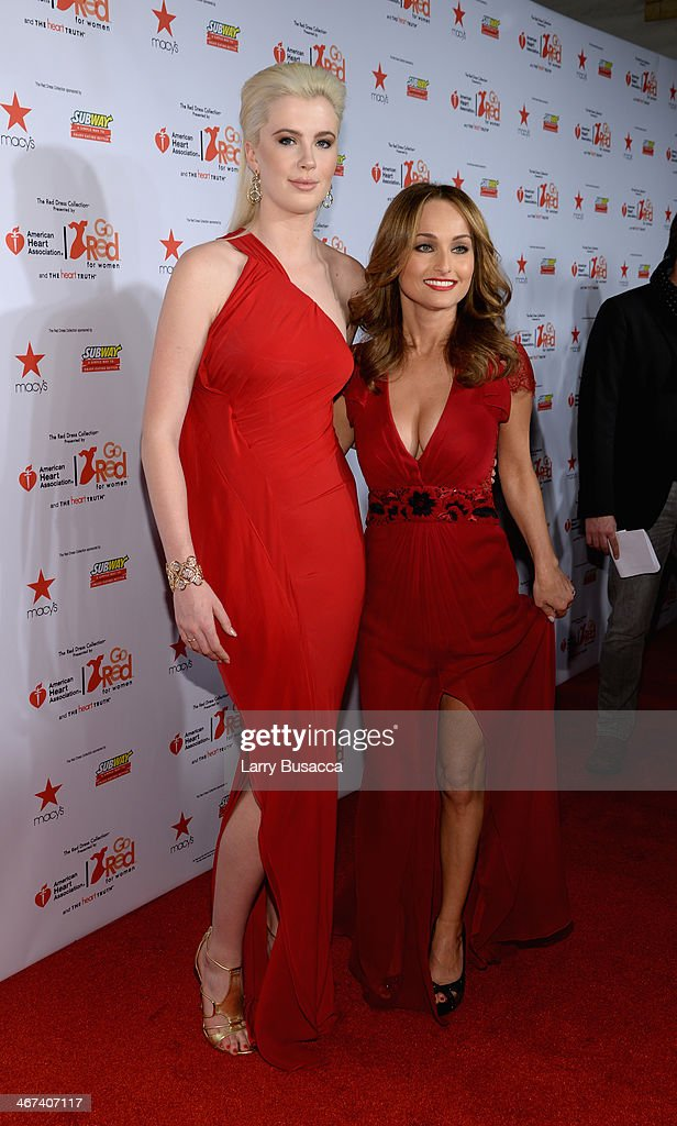 Model Ireland Baldwin (L) and Chef Giada De Laurentiis attends Go Red For Women The Heart Truth Red Dress Collection 2014 Show Made Possible By Macy's And SUBWAY Restaurants at The Theatre at Lincoln Center on February 6, 2014 in New York City.