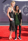 Model Ireland Baldwin and rapper Angel Haze arrive at the 2014 MTV Video Music Awards at The Forum on August 24 2014 in Inglewood California