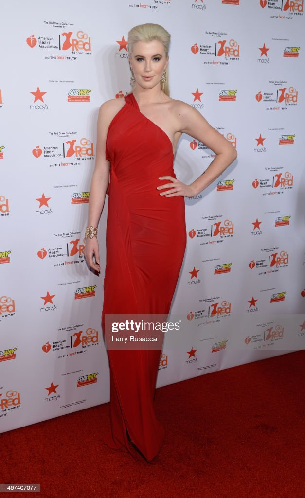 Model Ireland Baldwin attends Go Red For Women The Heart Truth Red Dress Collection 2014 Show Made Possible By Macy's And SUBWAY Restaurants at The Theatre at Lincoln Center on February 6, 2014 in New York City.