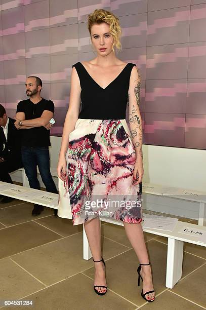 Model Ireland Baldwin attends the Monique Lhuillier Front Row Backstage September 2016 New York Fashion Week Show at the IAC Building on September 13...