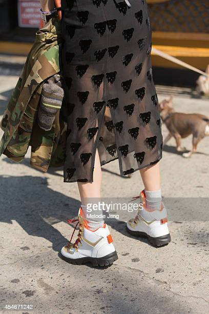 Model Irene Kim wears a Steve J Yoni P jacket Pushbutton pants and suecommabonnie shoes on Day 1 of New York Fashion Week Spring/Summer 2015 in New...
