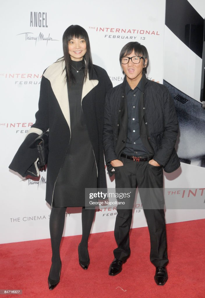 Model Irina Pantaeva and guest attend the Cinema Society and Angel by Thierry Mugler screening of 'The International' at AMC Lincoln Square on...