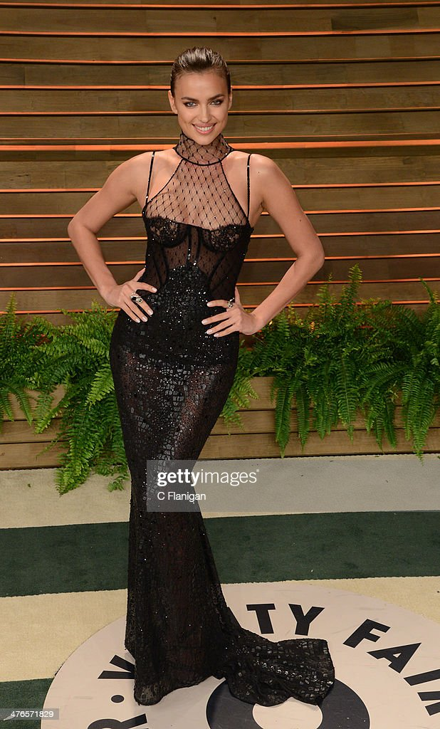 Model Irina Shayk arrives at the 2014 Vanity Fair Oscar Party Hosted By Graydon Carter on March 2, 2014 in West Hollywood, California.