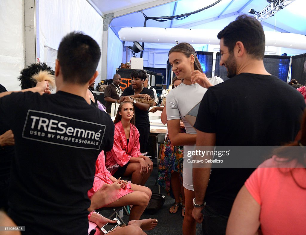 Model Irina Shayk attends backstage with TRESemme at the Beach Bunny show during Mercedes-Benz Fashion Week Swim 2014 at Cabana Grande at the Raleigh on July 19, 2013 in Miami, Florida.