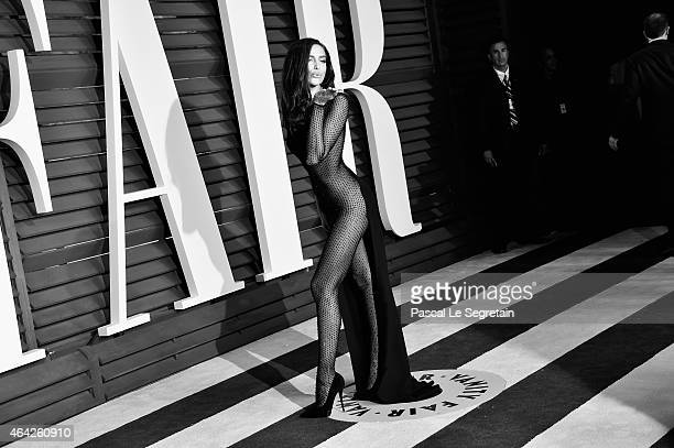 Model Irina Shayk attends the 2015 Vanity Fair Oscar Party at Wallis Annenberg Center for the Performing Arts on February 22 2015 in Beverly Hills...