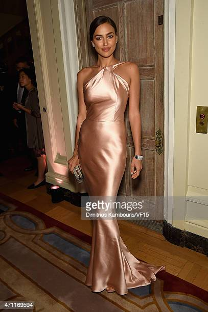Model Irina Shayk attends the Bloomberg Vanity Fair cocktail reception following the 2015 WHCA Dinner at the residence of the French Ambassador on...