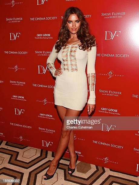 Model Irina Shayk attends The Cinema Society with Ivanka Trump Jewelry Diane Von Furstenberg screening of ''Snow Flower And The Secret Fan'' at the...