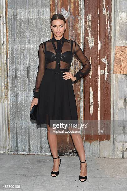 Model Irina Shayk attends the Givenchy fashion show during Spring 2016 New York Fashion Week at Pier 26 at Hudson River Park on September 11 2015 in...