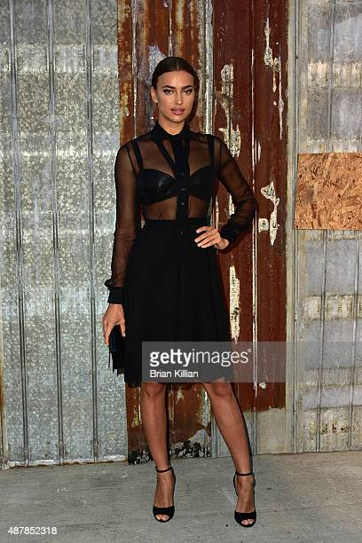 Model Irina Shayk attends the Givenchy show during Spring 2016 New York Fashion Week at Pier 26 on September 11 2015 in New York City