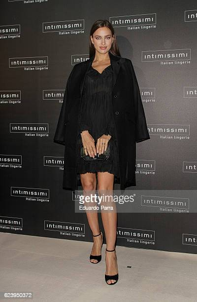 Model Irina Shayk attends the 'Intimissimi 20 years anniversary' photocall at Italian embassy in Spain on November 17 2016 in Madrid Spain