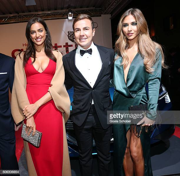 Model Irina Shayk Mario Goetze and his girlfriend AnnKathrin Broemmel attend the AUDI Night 2016 during Hahnenkamm Race Weekend on January 22 2016 in...