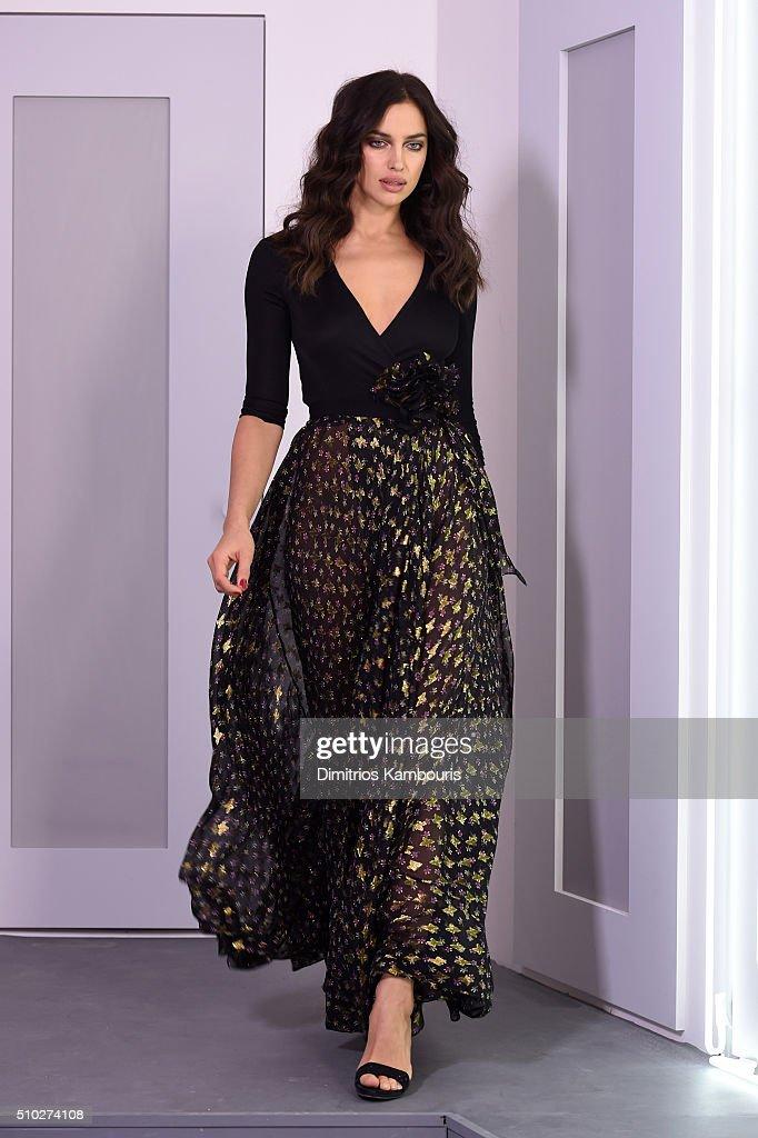 A model Irina Shayk poses wearing Diane Von Furstenberg Fall 2016 during New York Fashion Week on February 14, 2016 in New York City.