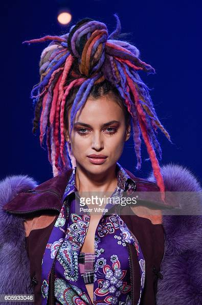 Model Irina Shayk walks the runway at the Marc Jacobs fashion show during New York Fashion Week at Hammerstein Ballroom on September 15 2016 in New...