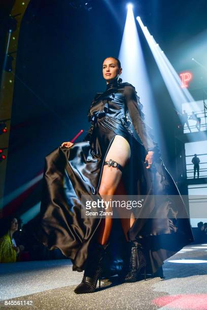 Model Irina Shayk walks the runway at the Philipp Plein fashion show during New York fashion week at Hammerstein Ballroom on September 9 2017 in New...