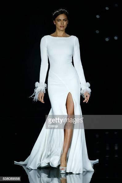 Model Irina Shayk walks the runway during Pronovias designed by Herve Moreau Season 2017 show as part of the Barcelona Bridal Fashion Week on April...