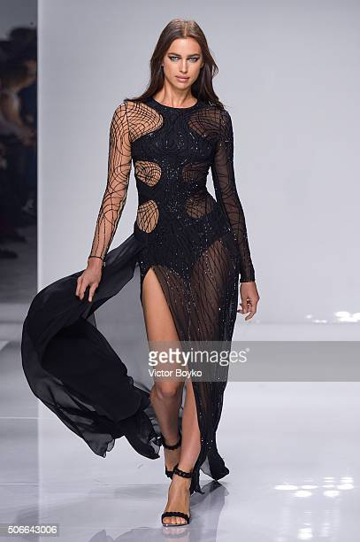 Model Irina Shayk walks the runway during the Versace Haute Couture Spring Summer 2016 show as part of Paris Fashion Week on January 24 2016 in Paris...