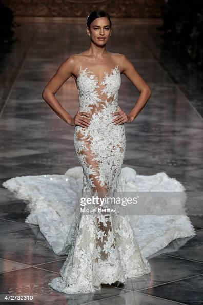 Model Irina Shayk walks the runway for the Pronovias fashion show 2016 as part of the Barcelona Bridal Week at the Museu Nacional d'Art de Catalunya...