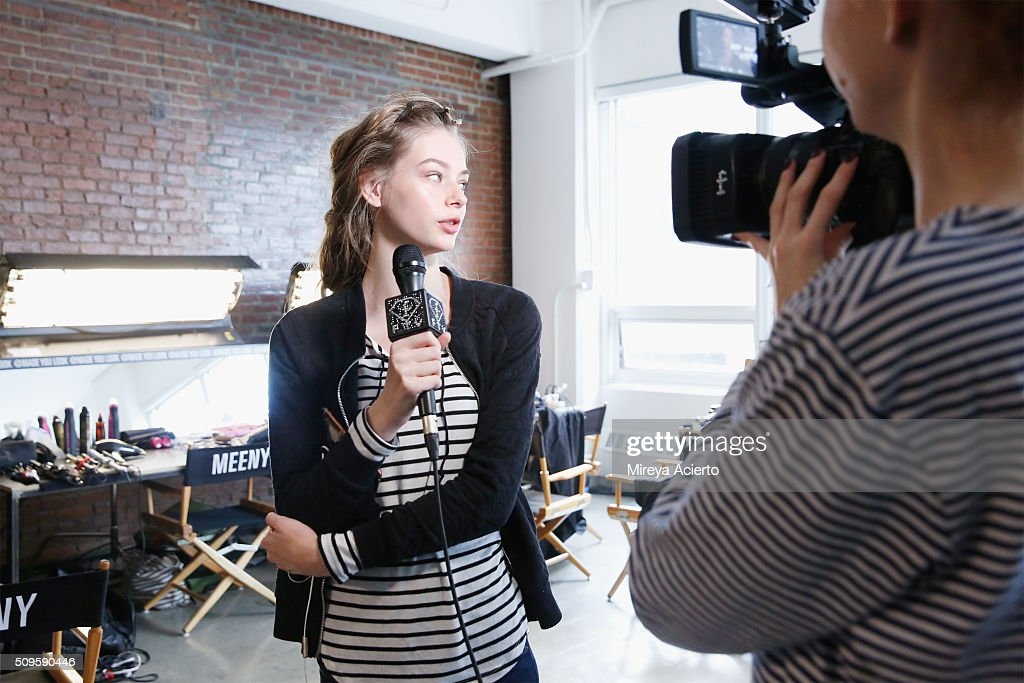 A model is interviewed backstage at the Brock Collection fashion show during Fall 2016 MADE Fashion Week at Milk Studios on February 11, 2016 in New York City.