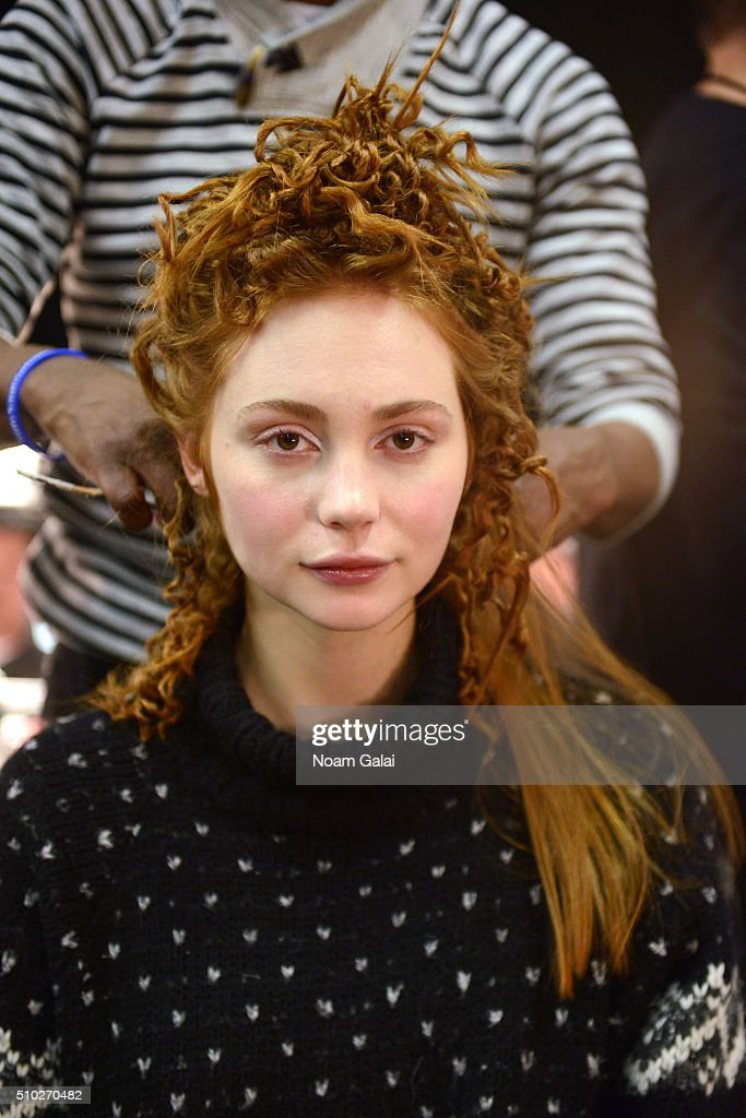 A model is prepared backstage at Runa Ray Fall 2016 during New York Fashion Week: The Shows at The Space, Skylight at Clarkson Sq on February 14, 2016 in New York City.