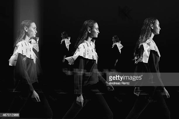 A model is running the runway during rehearsals during Mercedes Benz Fashion Week Istanbul FW15 on March 19 2015 in Istanbul Turkey